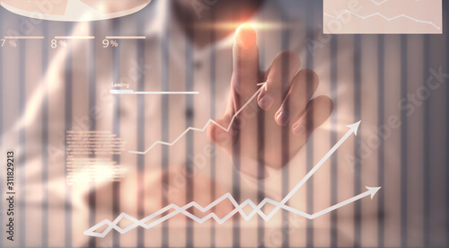 Obraz Financial chart with a growth arrows. Business, Investment - fototapety do salonu