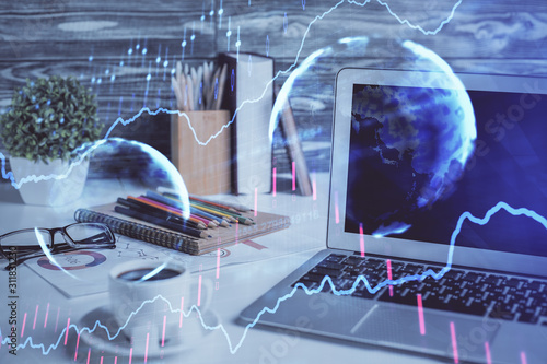 Forex market chart hologram and personal computer background Canvas Print