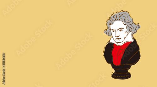 ベートーベンの胸像イラスト Canvas Print
