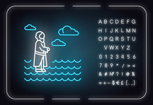Jesus Walking On Water Neon Light Icon. Miracles Of Jesus Christ. Savior On Water Surface. New Testament. Bible Narrative. Glowing Sign With Alphabet, Numbers And Symbols. Vector Isolated Illustration