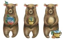 Watercolor Cute Brown Bear Wh...