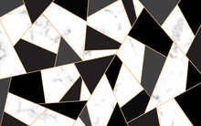 Golden Lines Pattern Background. Mosaic Gold And Black. White Marble Texture Background. Luxury Style.