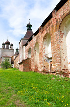 Wall And Gate Church Of Candlemas Boris And Gleb Monastery. Russia