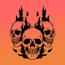 Three Skulls On Fire Illustrat...