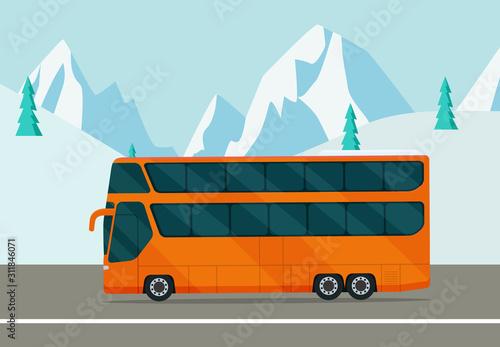 Fotografie, Tablou  Double-decker bus on the background of a winter landscape