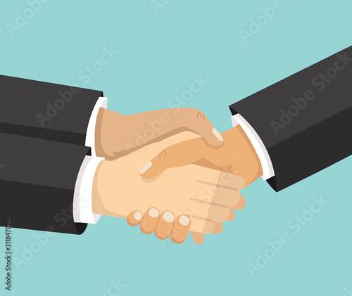 Photo businessman shaking hands symbol of success deal concept
