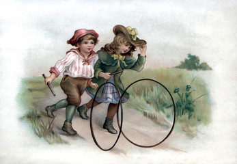 Fototapeta Vintage Vintage Illustration, 1800s Two girls playing with hoops, running down a path, Postcard Greeting card,