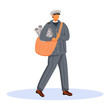 Post office male worker flat color vector illustration. Old fashioned dressed employee. Traditional post service unifrom. Paperboy with newspapers isolated cartoon character on white background