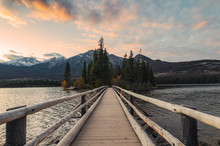 Wooden Bridge With Tiny Island In The Evening On Pyramid Lake At Jasper National Park