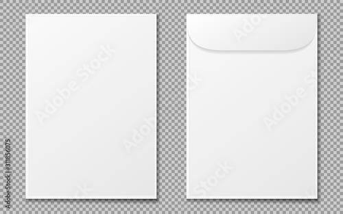 Obraz Envelope a4. Paper white blank letter envelopes for vertical document. Vector mockup isolated on transparent background. Envelope office mockup, paper letter mail illustration. EPS 10 - fototapety do salonu