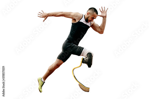 athlete runner disabled amputee explosive start running Canvas Print