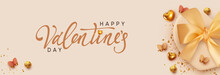 Valentines Day Banner. Background With Realistic Gift Box. Romantic Present. Beige Boxes With Lush Ribbon Bow, Gift Surprise. Golden 3d Hearts, Glitter Gold Confetti Decorative Flying Butterflies