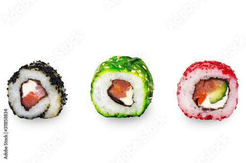 Fototapeta Uramaki maki sushi with chuka, red and black caviar. Three different rolls obraz