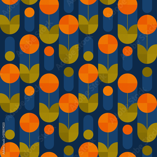 Abstract round shape flowers seamless pattern Wallpaper Mural