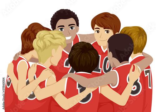 Fotografija Teens Boys Sports Club Basketball Illustration