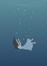 Girl Metaphor Drowning Illustr...