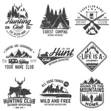 Set Of Hunting Club And Hiking...