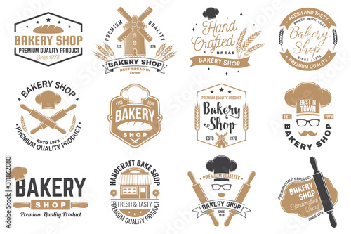 Fototapeta Set of Bakery shop badge. Vector Concept for badge, shirt, label, print, stamp, tee. Design with windmill, rolling pin, dough, wheat ears silhouette. For restaurant identity objects, packaging, menu obraz