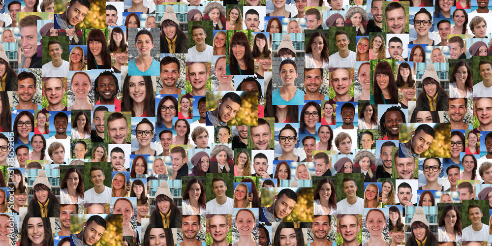 Fototapeta Background portrait collection group of young people portraits faces banner multicultural