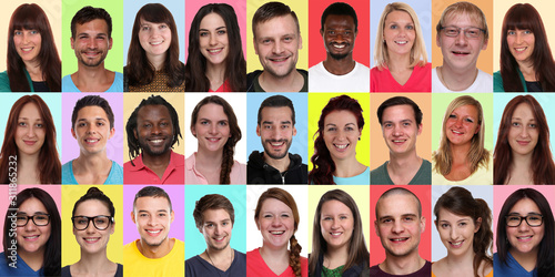 Collage group portraits of multiracial multicultural young smiling people banner Fototapete