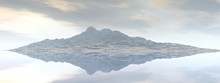 Beautiful View Of A Mountain Mirrored On A Lake - 3d Rendering