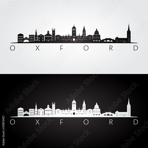 Oxford skyline and landmarks silhouette, black and white design, vector illustration Canvas Print
