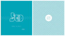 Carte De Naissance, Poisson, Bleu, Pois