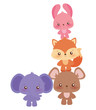 Cute kawaii animals cartoons vector design