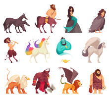 Mythical Creatures Cartoon Set