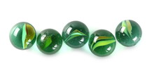 Green Glass Marbles, Isolated ...