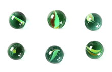 Green Glass Marbles, Isolated On White Background, Top View