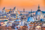 Fototapeta  - Rome at sunset time with St Peter Cathedral