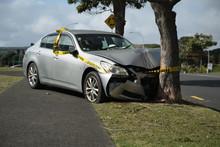 Silver Sedan Car Crashed Into A Tree, Auckland, New Zealand.