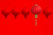 Outstanding Chinese Lanterns Floating Above Red Lanterns On Red Background Room Studio 3d Rendering. 3d Illustration Greeting For Happiness, Prosperity & Longevity. Chinese New Year Festival Concept.