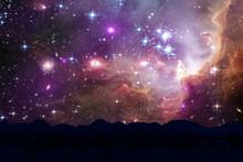 Nebula And Galaxy On Space Bac...