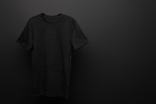 Blank Basic Black T-shirt On B...