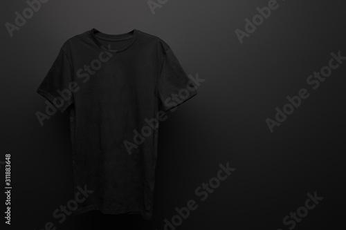 Obraz blank basic black t-shirt on black background - fototapety do salonu