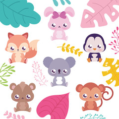 Cute kawaii animals cartoons with leaves vector design