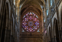 Prague, Czech Republic: Colorful Religious Stained Glass Window Inside St. Vitus Cathedral