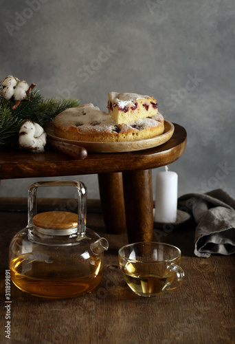 natural homemade berry cake with icing sugar
