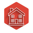 White line House icon isolated with long shadow. Home symbol. Red hexagon button. Vector Illustration
