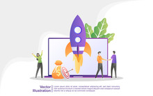 Startup Business Concept. Business Project Startup Process, Idea Through Planning And Strategy, Time Management. Can Use For Web Landing Page, Banner, Mobile App. Vector Illustration