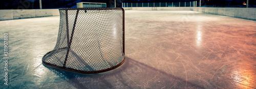 hockey net on an outdoor rink Fototapet