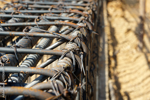 Strapping steel bars with wire in various forms Slika na platnu