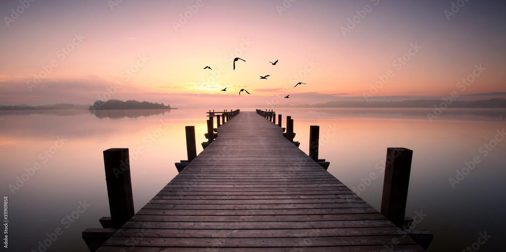 Fototapeta romantischer Steg mit Vögeln
