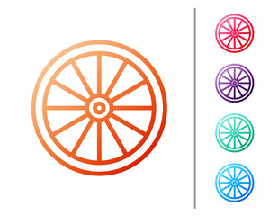 Red line Car wheel icon isolated on white background. Set color icons. Vector Illustration