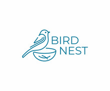 Bird With Nest Logo Design. Bird Watching Vector Design. Birding Logotype