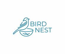 Bird With Nest Logo Design. Bi...