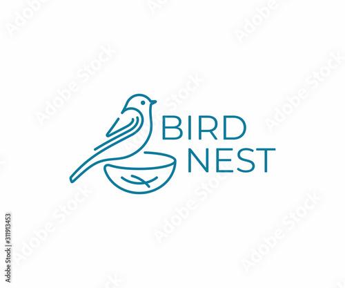 Fototapeta Bird with nest logo design