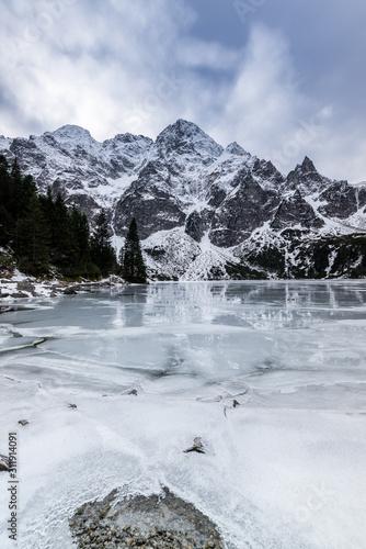 Fototapeta Winter at Sea Eye Lake or Morskie Oko near Zakopane in Poland obraz